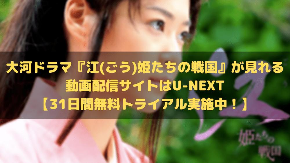 大河ドラマ『江(ごう)姫たちの戦国』が見れる動画配信サイトはU-NEXT【31日間無料トライアル実施中!】