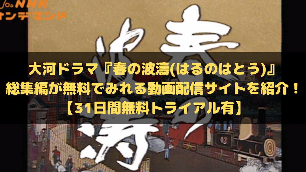 大河ドラマ『春の波濤(はるのはとう)』総集編が無料でみれる動画配信サイトを紹介!【31日間無料トライアル有】